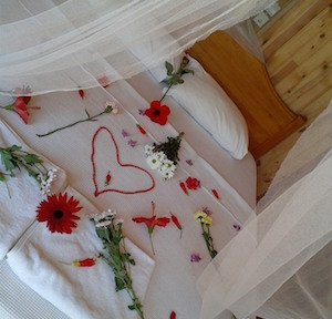 inside of bungalow, bed with red flowers and tulle